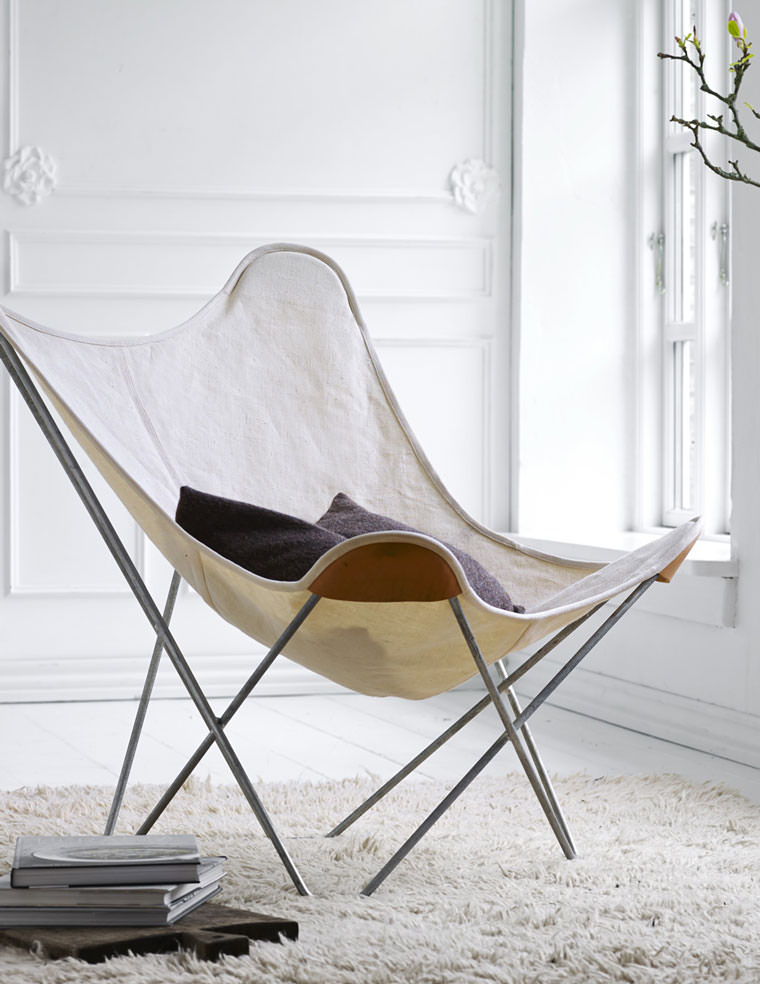 Canvas Butterfly Chair In White Interior Cuero
