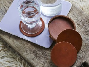 Vegetable tanned Leather Coasters With Water