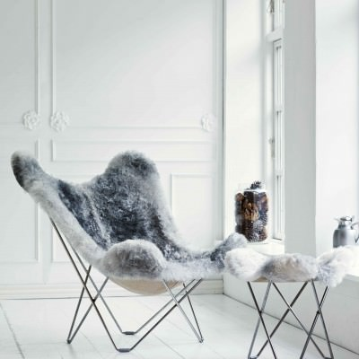 Sheepskin Butterfly Chair, Iceland Mariposa, Natural Grey