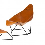 Modern Leather Armchair with footrest & cushion