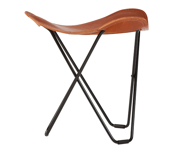 Leather Stool – Polo Colour, Black  Frame