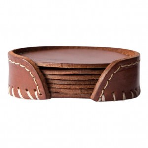 Leather Coasters Oak Brown Colour
