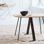 Modern Wood Side Table, Butterfly Chair in the background