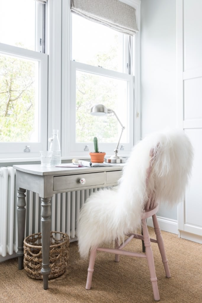 long haired white icelandic sheepskin over chair