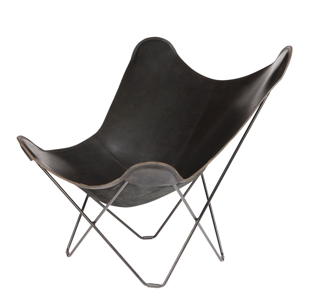 black leather butterfly chair black frame