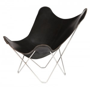 Black Leather Butterfly Chair Chrome Frame