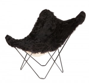 Black Sheepskin BKF Short Hair Black Frame