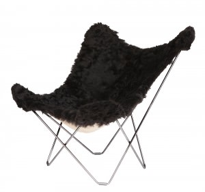 Black Short Hair Sheepskin Lounge Chair Chrome Frame