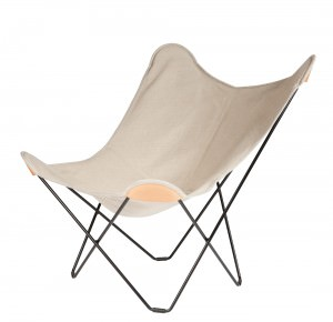 Canvas Butterfly Chair Natural Colour Black Frame