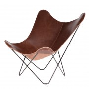 Chocolate Coloured Leather Butterfly Chair Black Frame