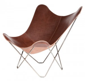 Chocolate Coloured Leather Butterfly Chair Chrome Frame