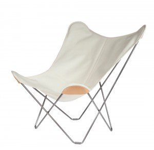 Hemp Butterfly Chair White colour black frame