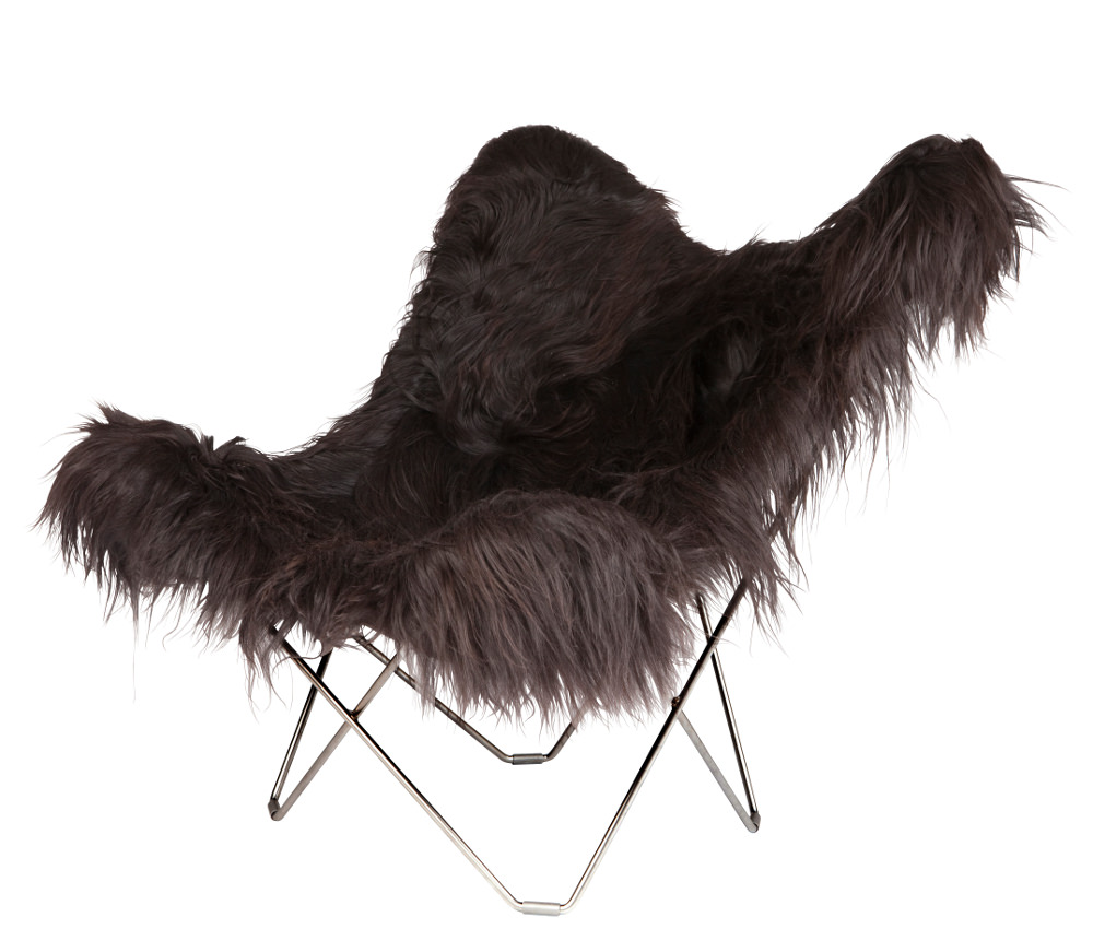 Leather butterfly chair previous next categories butterfly chair -  Long Hair Black Sheepskin Butterfly Chair Chrome Frame