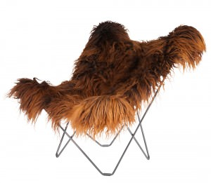 Long Hair Brown Sheepskin Armchair Chrome Frame