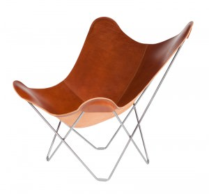 Montana Coloured Leather Butterfly Chair Chrome Frame