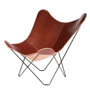 Oak Coloured Leather Butterfly Chair Black Frame