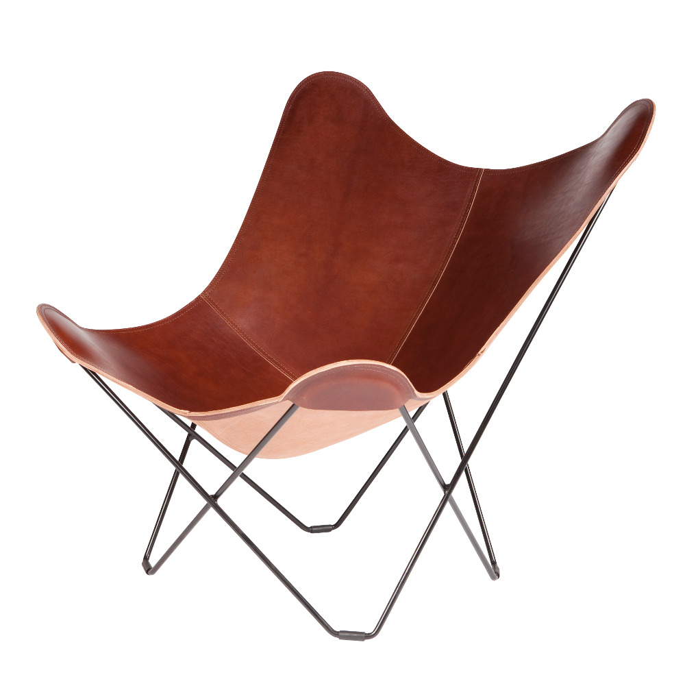 Butterfly chair original -  Oak Coloured Leather Butterfly Chair Black Frame