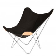 Outdoor Butterfly Chair Black Colur Chrome Frame