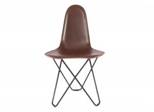 Modern Leather Dining Chair - Cactus Chocolate