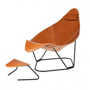 Modern Leather Armchair With Footrest and Cushion - Abrazo