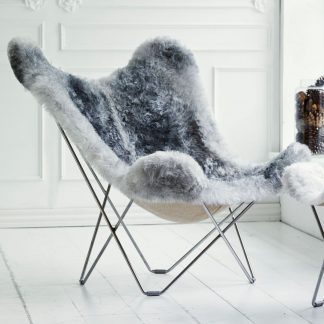 Grey Lambskin Butterfly Chair