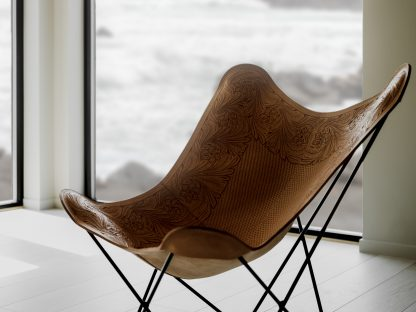 leather butterfly chair Hand Embossed Drawing Crude Nature